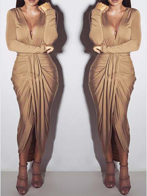 Khaki Wrap Deep V Neck Long Sleeve Ruched Party Maxi Dress