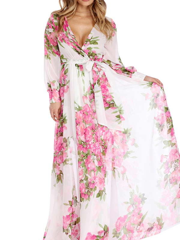White Bohemian Floral Pleated Print V-neck Summer Beach Party Plus Size  Maxi Dress