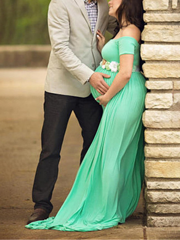 Green Draped Backless Off Shoulder Maternity Photoshoot Baby Shower