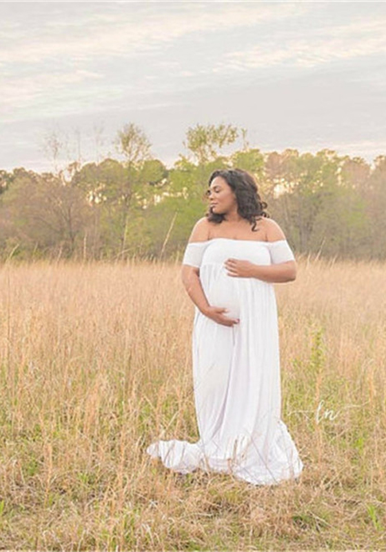 White Draped Backless Off Shoulder Maternity Photoshoot Baby Shower