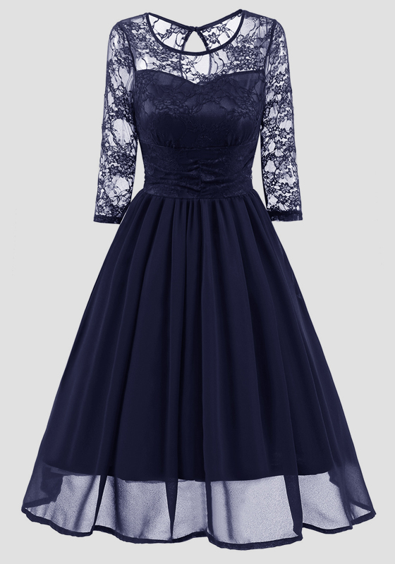 fd878501aa83 Navy Blue Patchwork Lace Round Neck Long Sleeve Vintage Midi Dress - Midi  Dresses - Dresses