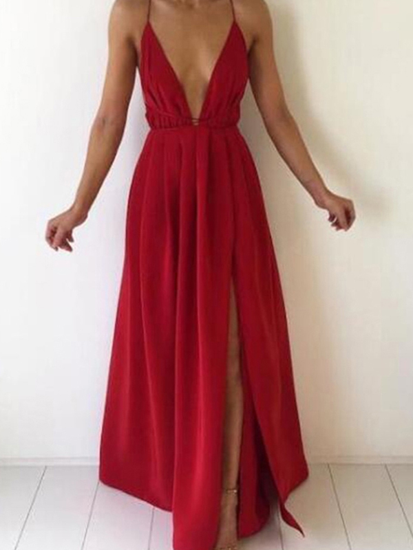 aad544e8705f Red Draped Belt Side Slit Deep V-neck Spaghetti Strap Backless Flowy Floaty  Party Maxi Dress - Maxi Dresses - Dresses