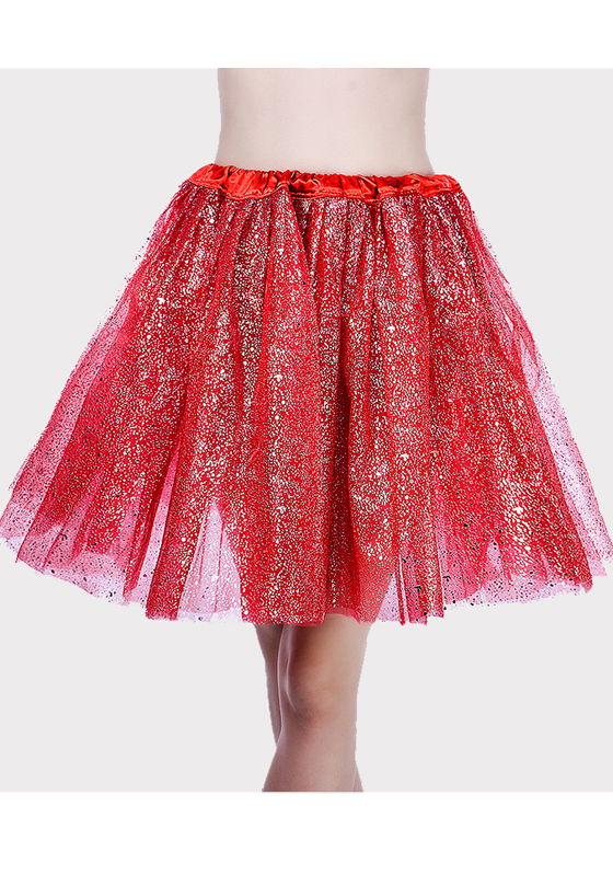80482528d9 Red Sequin Grenadine Pleated Fluffy Puffy Tulle Sweet Party Skirt - Skirts  - Bottoms