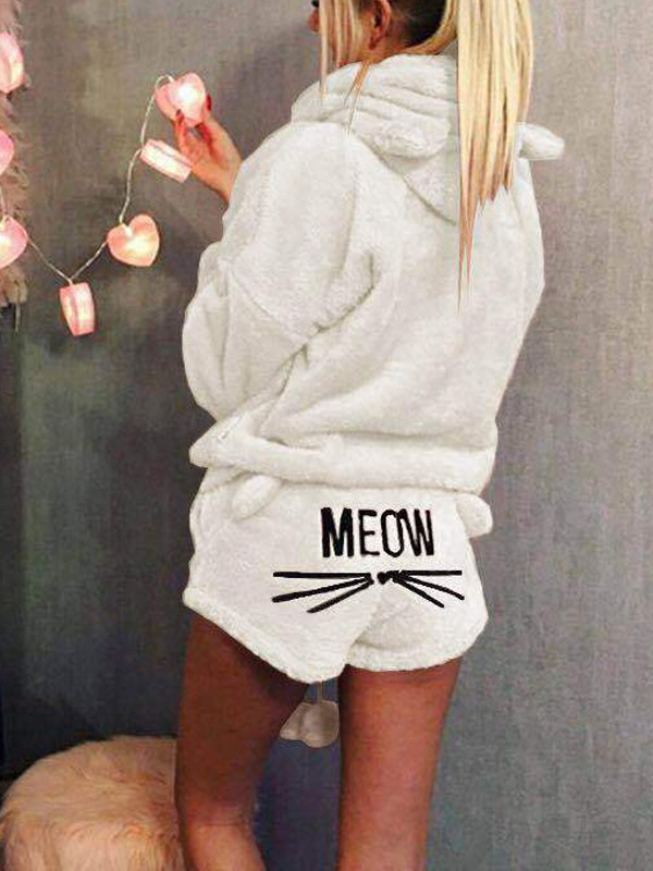 2f4e0843d Beige Meom Cat Print Pockets Two Piece Hooded Teedy Cute Sweet Pajamas  Short Jumpsuits
