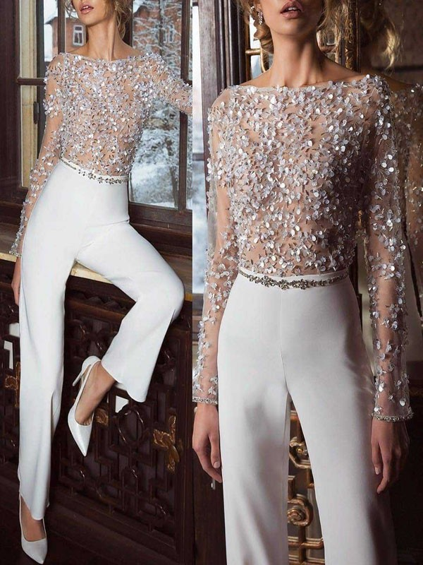 8a06f0081b White Patchwork Grenadine Sequin Sparkly Glitter Birthday Wide Leg Palazzo  Elegant Party Jumpsuit - Jumpsuits - Bottoms