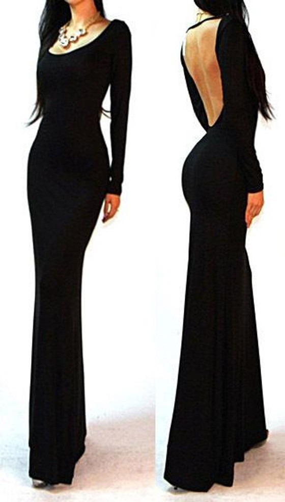 Black Open Back Bodycon Long Sleeve Prom Dress - Maxi Dresses - Dresses