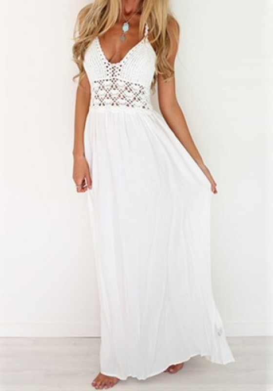 White Floor Length Casual Dresses