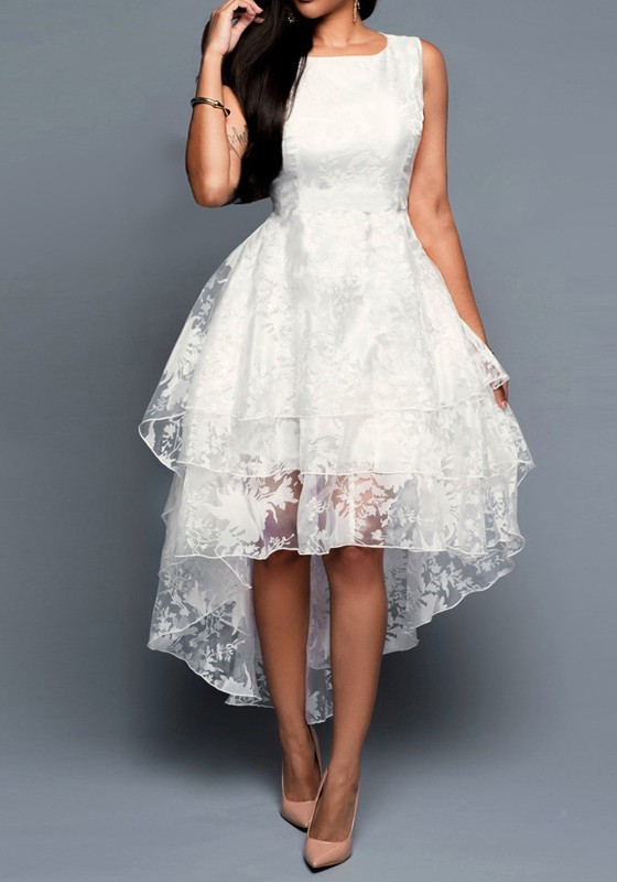 White Lace Pleated Irregular Swallowtail Multi-layer Embroidery ...