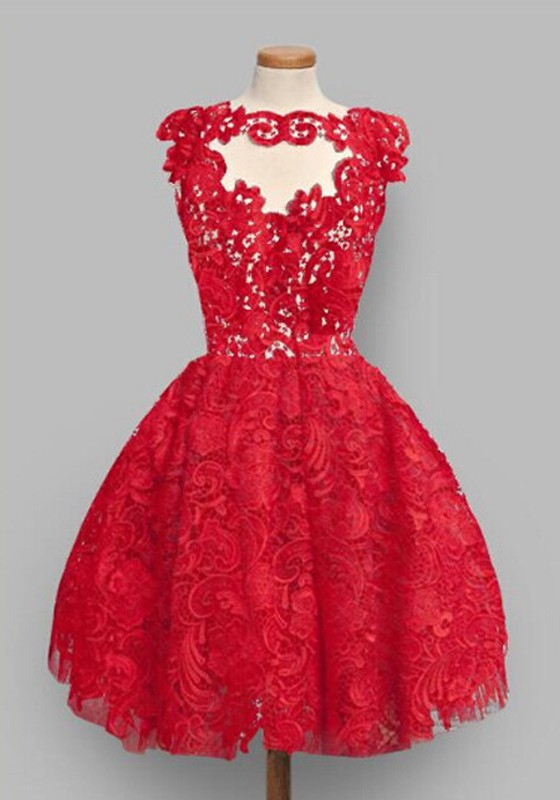 5dfe5d992a1 Red Plain Lace Pleated Puffy Sweet Homecoming Party Mini Dress - Mini  Dresses - Dresses