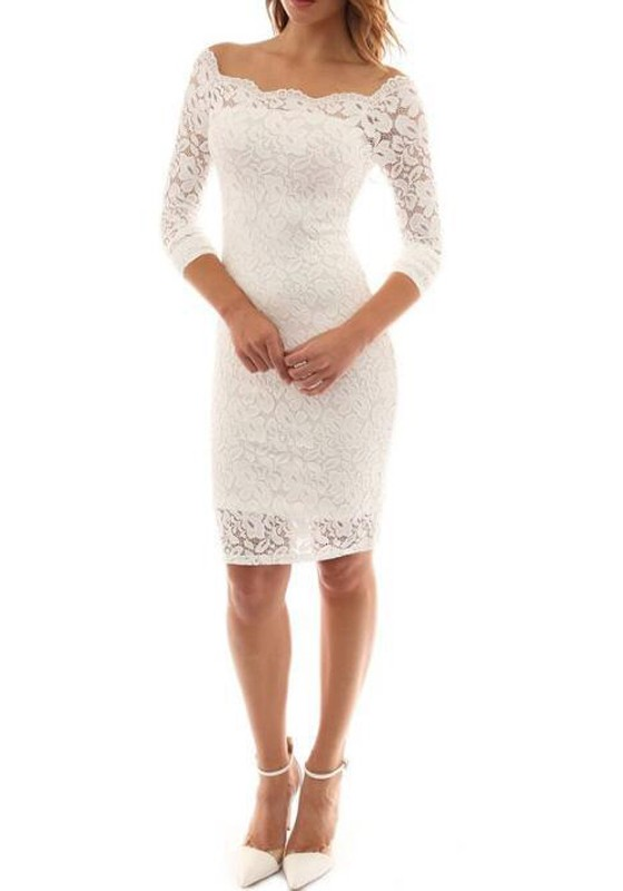 ee706be3ffc1 White Plain Lace Hollow-out Off-shoulder Elegant Sexy Bodycon Party Midi  Dress