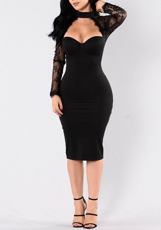 fdb7294b79 Black Patchwork Lace Hollow-out Cut Out See-through Halter Neck Bodycon  Midi Dress - Midi Dresses - Dresses