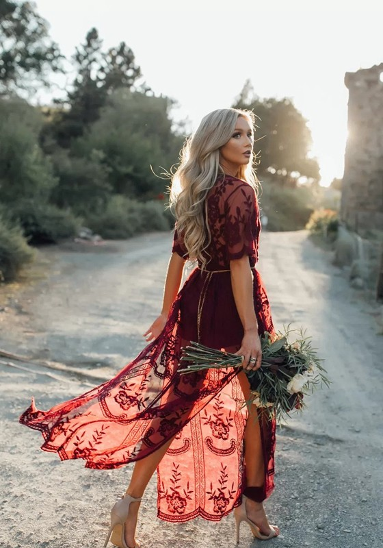 4b3e99cd432e21 ... Deep V-neck Boho Beach Maxi Dress. Wine Red Floral Chain Lace Side Slit  Sexy Maxi Dress
