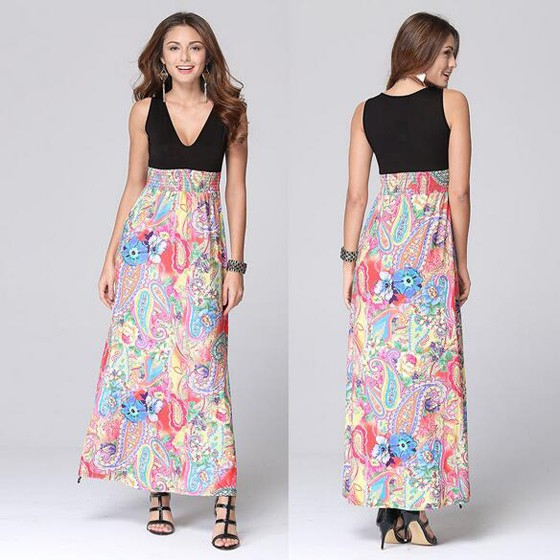 3a0a158561a Multicolor Patchwork Floral Print A-line Cleavage Sleeveless High Waisted  Bohemian Maxi Dress