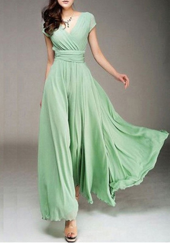 6b23d4e47b9 Light Green Pleated V-Neck Evening Party Beach Wedding Sundress Bohemian  Elegant Wrap Maxi Dress - Maxi Dresses - Dresses