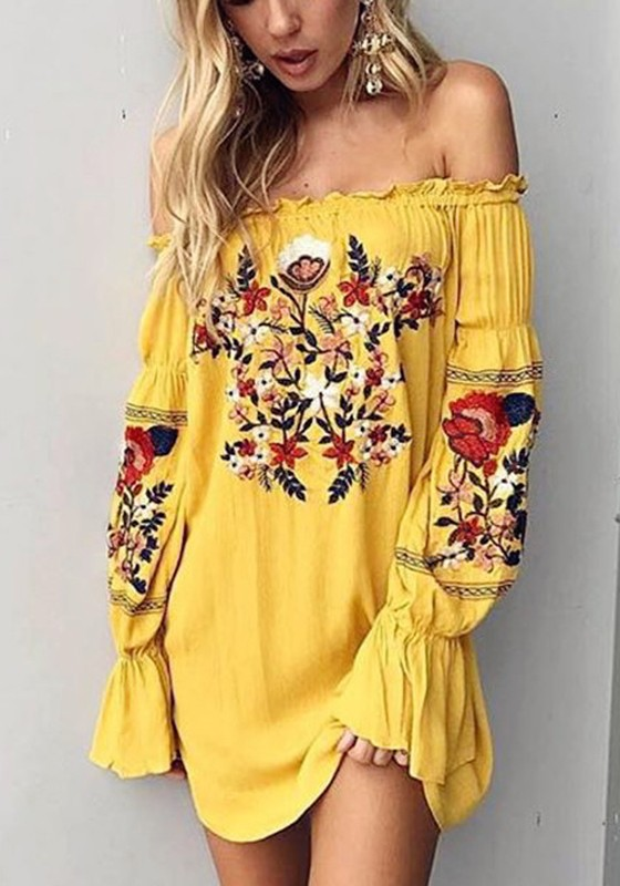 eed73c656f59 Yellow Gypsy Floral Ruffle Embroidery Off Shoulder Homecoming Party Mexican  Boho Mini Dress - Mini Dresses - Dresses