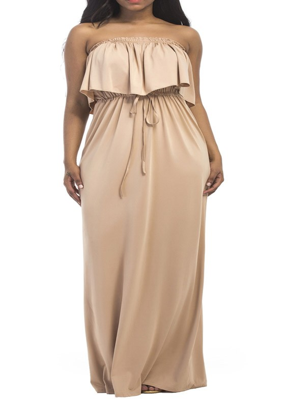 Apricot Bandeau Drawstring Pleated Ruffle High Waisted Off Shoulder