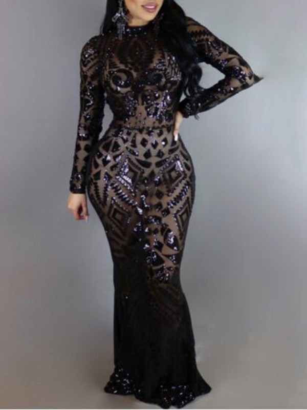 Black Geometric Sequin Cut Out Floor Length Prom Evening Party Maxi ...