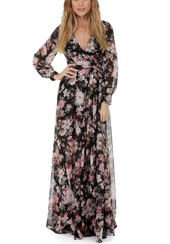 Black Bohemian Floral Pleated Print V-neck Summer Beach Party Plus Size  Maxi Dress