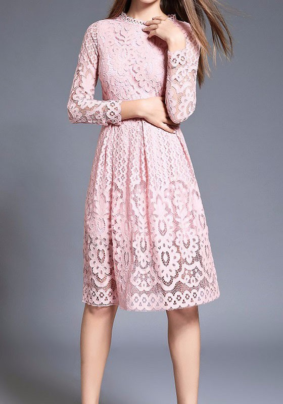 420274fa861 Pink Patchwork Lace Draped Long Sleeve Elegant Midi Dress - Midi Dresses -  Dresses