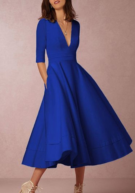807b8a19c16 Blue Ruffle Pleated Zipper Plus Size Elbow Sleeve Homecoming Party Elegant  Maxi Dress - Maxi Dresses - Dresses