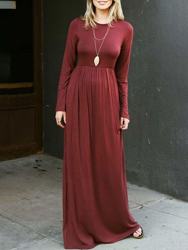 9a0036ce90d Wine Red Draped Pockets Round Neck Long Sleeve Casual Maxi Dress - Maxi  Dresses - Dresses