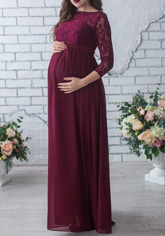 Burgundy Patchwork Lace D High Waisted Stylish Baby Shower Maternity Maxi Dress