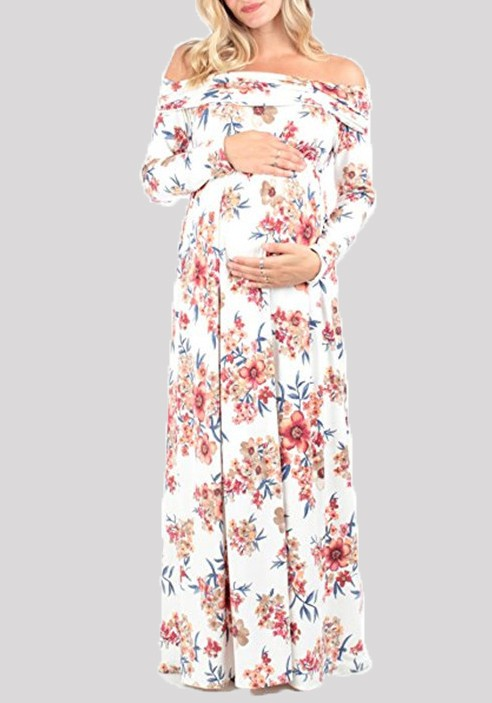 84091c5c5b89 White Gypsy Floral Print Draped Off Shoulder Backless Maternity Maxi Summer  Dress - Maternity Dresses - Women s Maternity