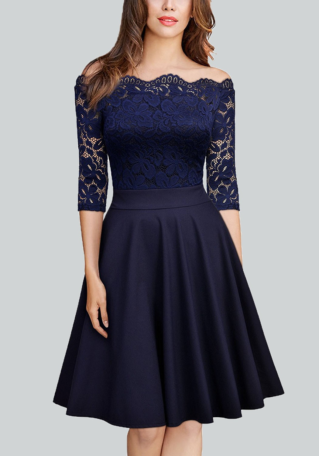 62540310002c Navy Blue Pleated Lace Off Shoulder Backless 3/4 Sleeve Homecoming Party  Midi Dress - Midi Dresses - Dresses