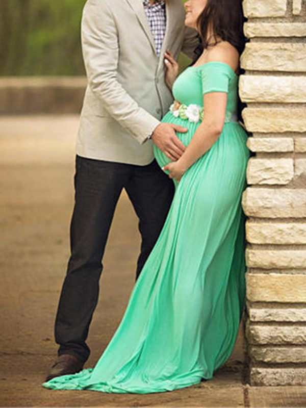 Green D Backless Off Shoulder Maternity Photoshoot Baby Shower Maxi Dress