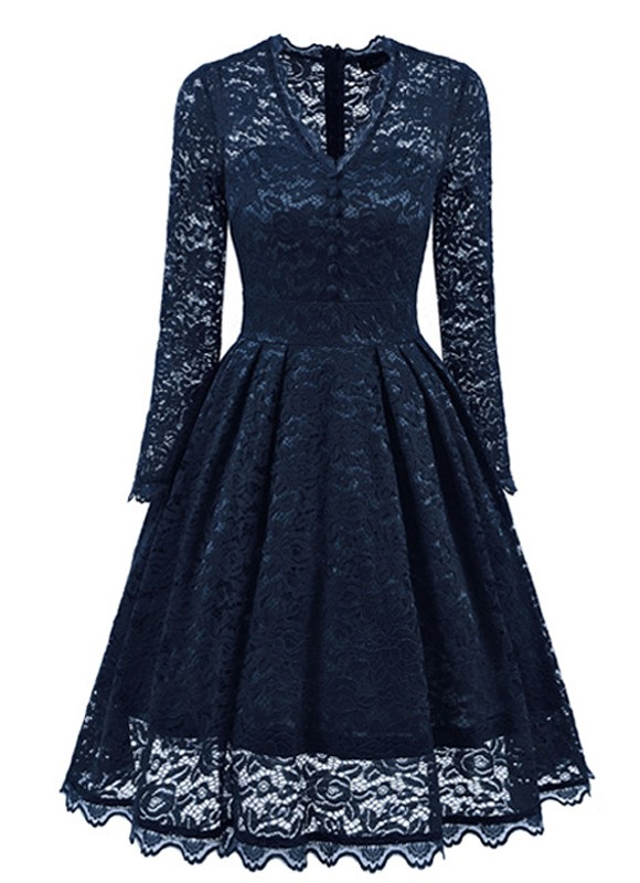 208e71ce6b01 Navy Blue Lace Single Breasted Pleated V-neck Long Sleeve Midi Dress - Midi  Dresses - Dresses