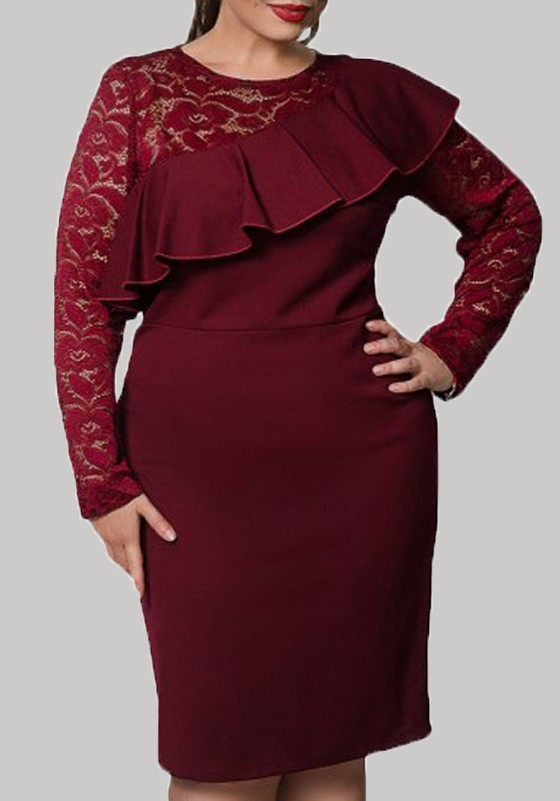 93db1808c04 Burgundy Patchwork Ruffle Lace Plus Size Long Sleeve Elegant Midi Dress -  Midi Dresses - Dresses