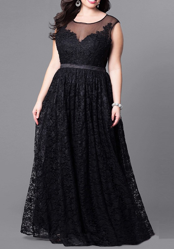 33582fe1c5a3 Black Patchwork Floral Lace High Waisted Plus Size Elegant Cocktail Prom  Maxi Dress - Maxi Dresses - Dresses