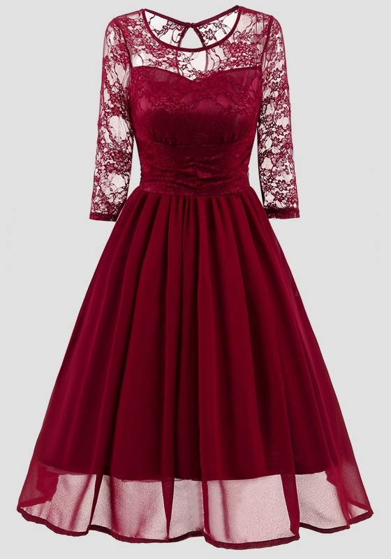 10ae05570c15 Wine Red Patchwork Lace Round Neck Long Sleeve Vintage Midi Dress ...