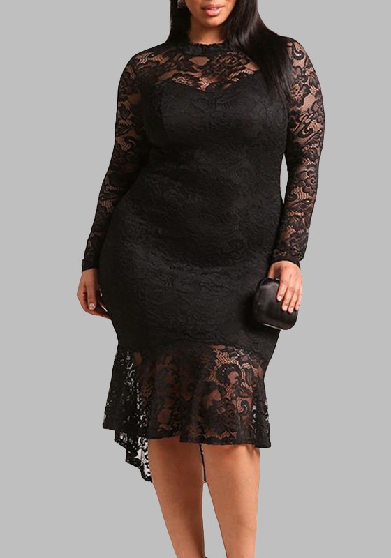 35f5b4a9cc Black Lace Cut Out Pleated High-low Plus Size Long Sleeve Party Midi Dress  - Midi Dresses - Dresses