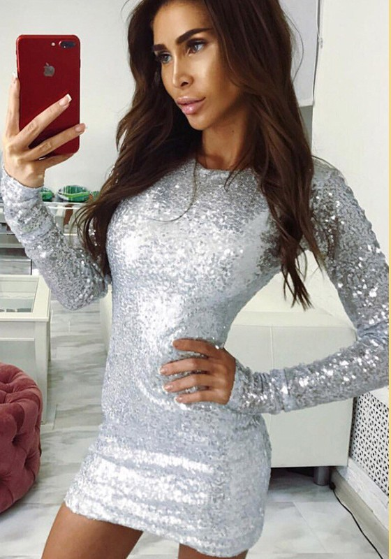 Silver Sequin Glitter Long Sleeve Bodycon Clubwear Cocktail NYE ...