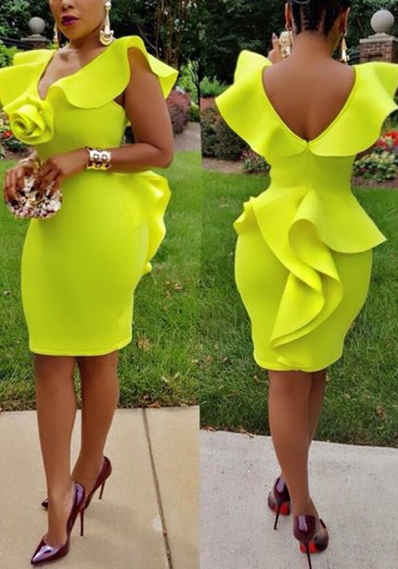 f9445ed071ed Yellow Cascading Ruffle Backless Peplum Deep V-neck Bodycon Cocktail Party Midi  Dress - Midi Dresses - Dresses