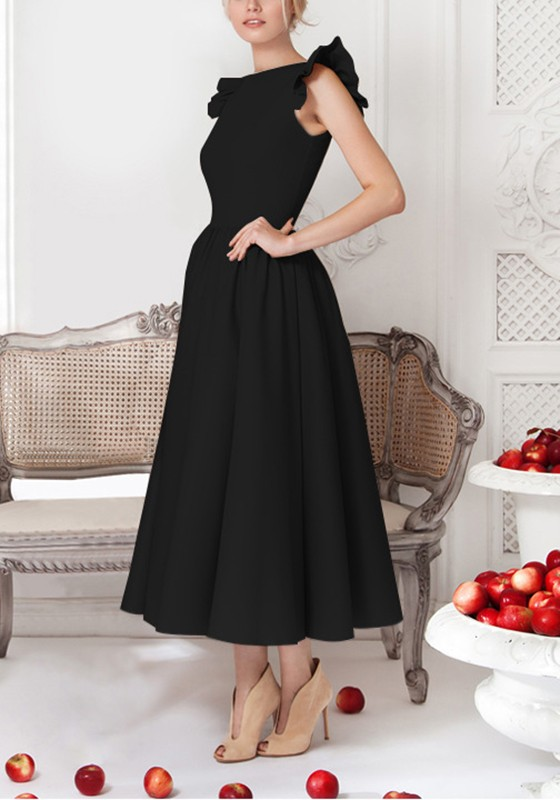 a3afaf7422ed25 Black Plain Pleated Round Neck Elegant Midi Dress - Midi Dresses - Dresses