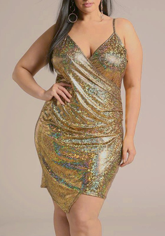 Golden Irregular Spaghetti Strap Backless Sparkly Plus Size Banquet ...
