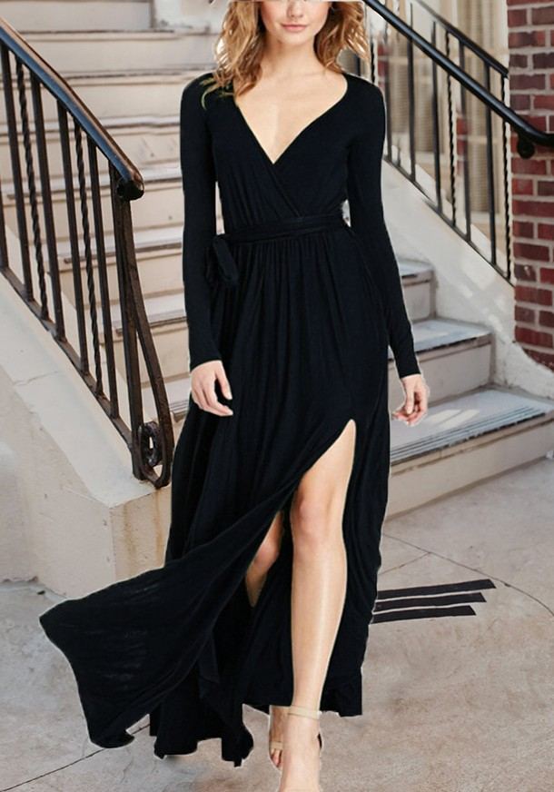6deab7780e96 Black Draped Sashes Slit Flowy Lace-up Deep V-neck Elegant Vegas Party Maxi  Dress - Maxi Dresses - Dresses