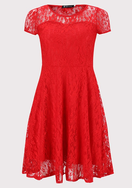 Red Lace Pleated Plus Size Round Neck Elegant Party Midi Dress ...