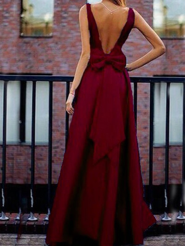992c9f2efb6 Burgundy Bow Pleated Backless V-neck High Waisted Elegant Banquet Party Maxi  Dress - Maxi Dresses - Dresses