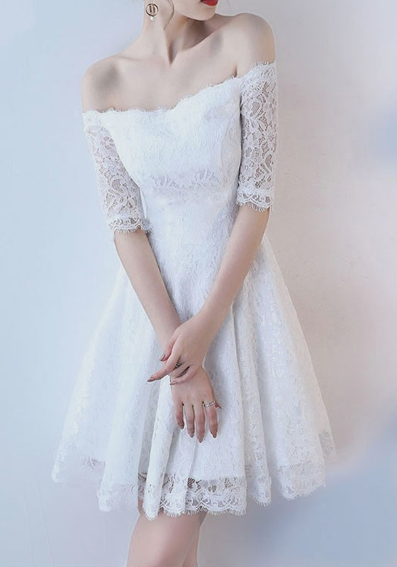White Lace Draped Off Shoulder Backless Elegant Sweet Party Midi ...