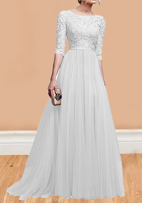 White Patchwork Lace Pleated Round Neck Elbow Sleeve Wedding Gowns ...