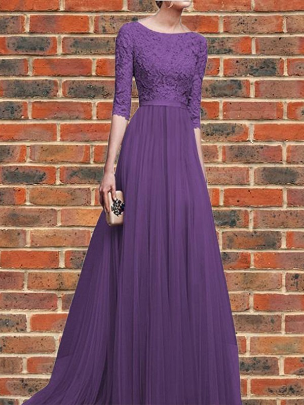 Purple Patchwork Lace Pleated Round Neck Elbow Sleeve Wedding Gowns ...