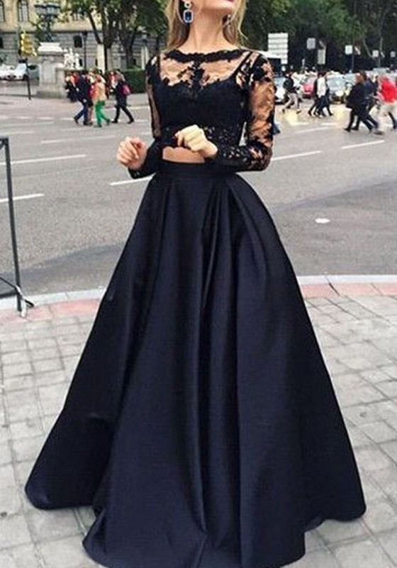 Black Patchwork Lace Pleated 2-in-1 Round Neck Long Sleeve Wedding ...