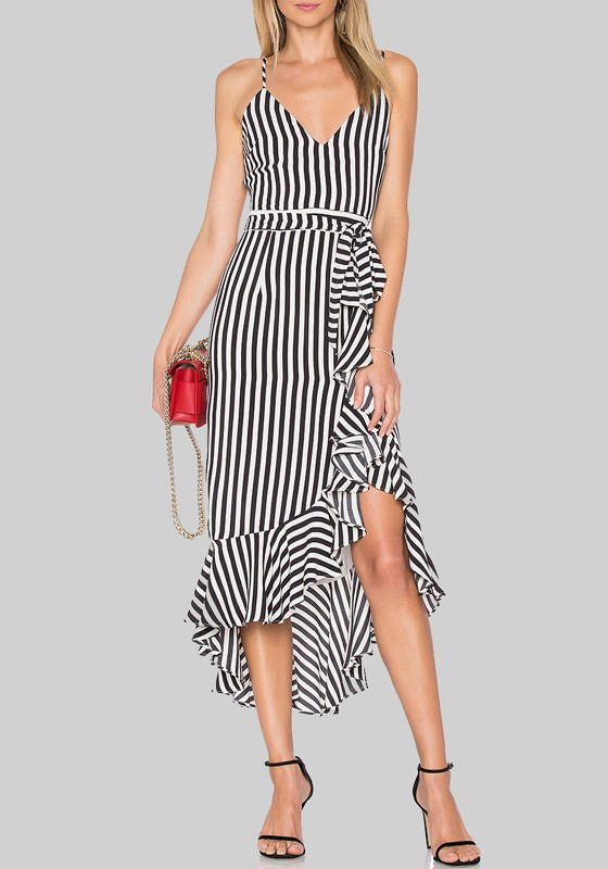8ae8042bc2c5bc Black-White Striped Irregular Ruffle Draped Spaghetti Strap Backless  High-low Graduation Party Midi Dress - Midi Dresses - Dresses