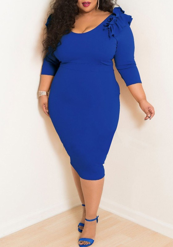 Royal Blue Ruffle Bodycon Plus Size 34 Sleeve Banquet Cocktail
