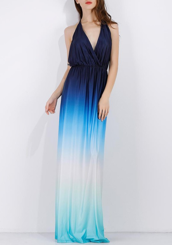 6c489625bb Blue Patchwork Cut Out Pleated Gradient Color Backless Beach Maxi Dress - Maxi  Dresses - Dresses