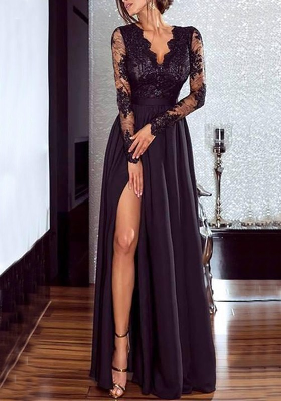 Black Lace Draped Side Slit V Neck Flowy High Waisted Elegant Party