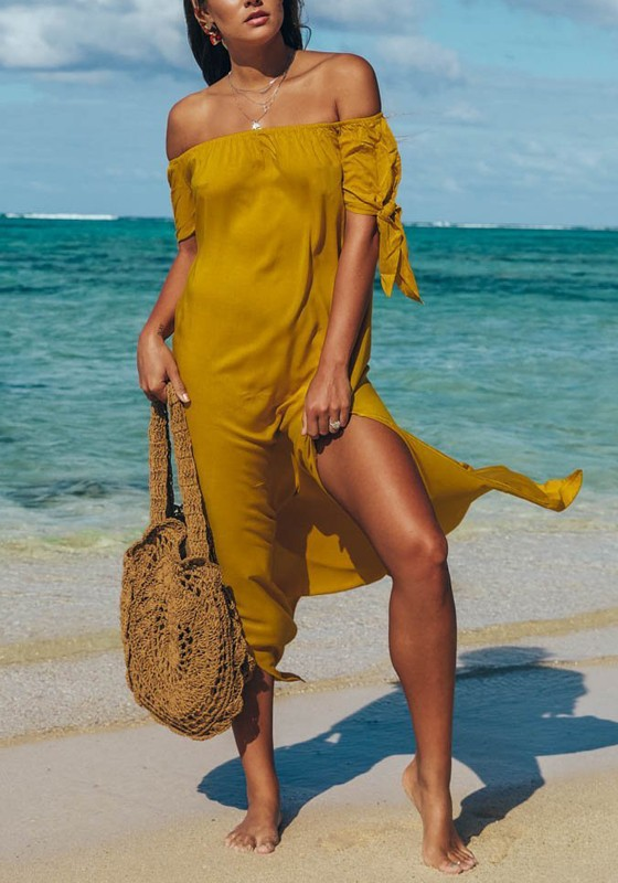 Yellow Side Off Shoulder Backless Flowy Bohemian Beach Wedding Party Maxi Dress